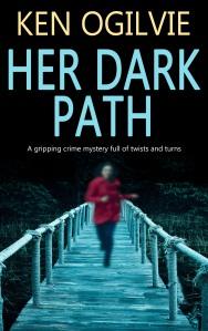 wooden boardwalk in dark forest
